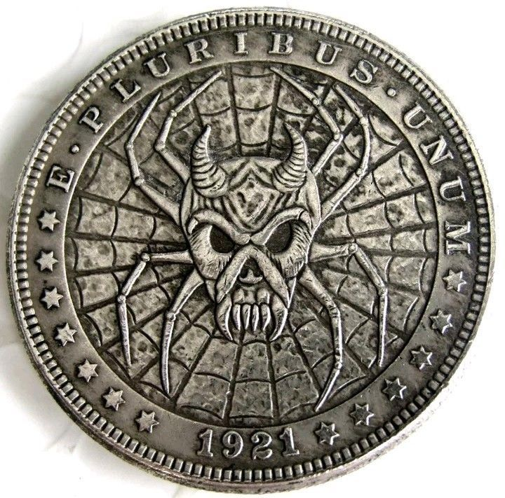 Primary image for Rare New Hobo Nickel 1921 Morgan Dollar Skull Spider Demon Spiderweb Casted Coin