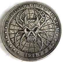 Rare New Hobo Nickel 1921 Morgan Dollar Skull Spider Demon Spiderweb Cas... - $11.99