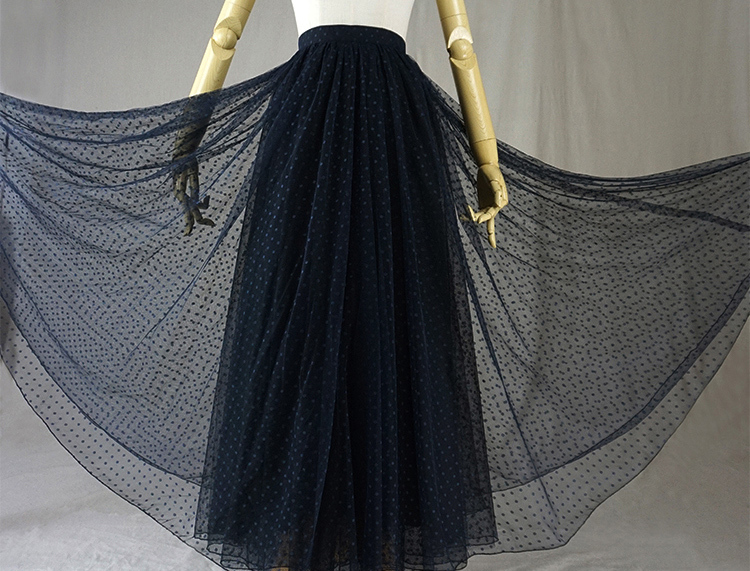 Navy black dot tulle skirt 6