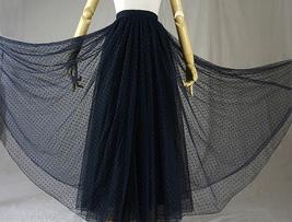 Navy Polka Dot Tulle Skirt Navy Long Tulle Skirt Wedding Guest Outfit image 7