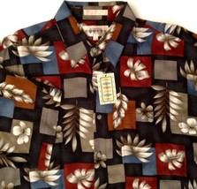 Campia Moda Hawaiian Aloha Camp Shirt Floral Leaves Size M New with Tags - $34.60