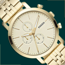 NIB Fossil BQ2435 Luther Chronograph Gold-Tone Stainless Steel Watch $175 Retail - £68.82 GBP