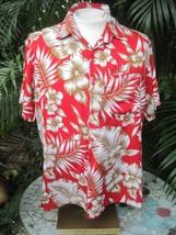 Hawaiian ALOHA shirt L pit to pit 25 CREATIONS Terivoile tropical light ... - $14.69