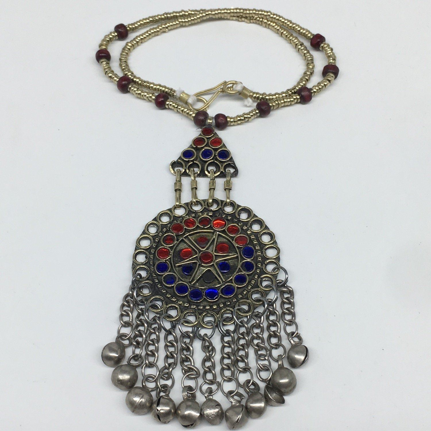 Kuchi Necklace Afghan Tribal Fashion Colorful Glass ATS Necktie Necklace, KN414