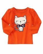 Gymboree Girls bow tie Kitty long sleeve Tee 18 24 2 3 4 5 - $12.99