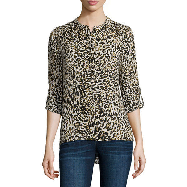 a.n.a Long-Sleeve Shirred-Shoulder Tab Up Popover Top Size XS Electric Leopard