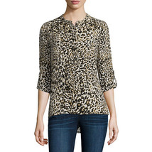 a.n.a Long-Sleeve Shirred-Shoulder Tab Up Popover Top Size XS Electric Leopard - $14.99