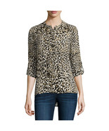 a.n.a Long-Sleeve Shirred-Shoulder Tab Up Popover Top Size XS Electric L... - $14.99
