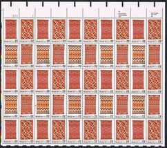 1986 Navajo Blankets Sheet of 50 US Postage Stamps Catalog Number 2235-38 MNH