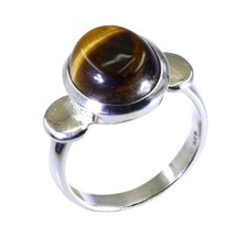 Tiger Eye Solid Silver Ring For Women Oval Shape Size 5,6,7,8,9,10,11,12... - $29.01