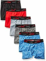Hanes Boys' Boxer Brief 6 pack, Assorted Space Dyes & Solids, Medium - $11.99