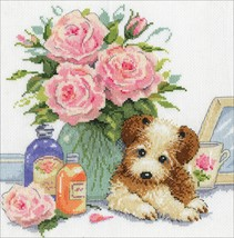 "Design Works Counted Cross Stitch Kit 10""X10""-Puppy W/Roses (14 Count) - $23.08"
