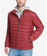 Tommy Hilfiger Men's Down Quilted Packable Logo Jacket Red Pepper - $97.50