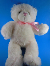 "Pink & White Plush Teddy Bear 16"" Very soft snuggly Build A Bear BAB - $11.87"