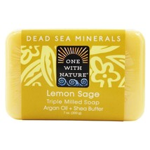 One With Nature Dead Sea Mineral Bar Soap Mild Exfoliating Lemon Sage, 7... - $8.19