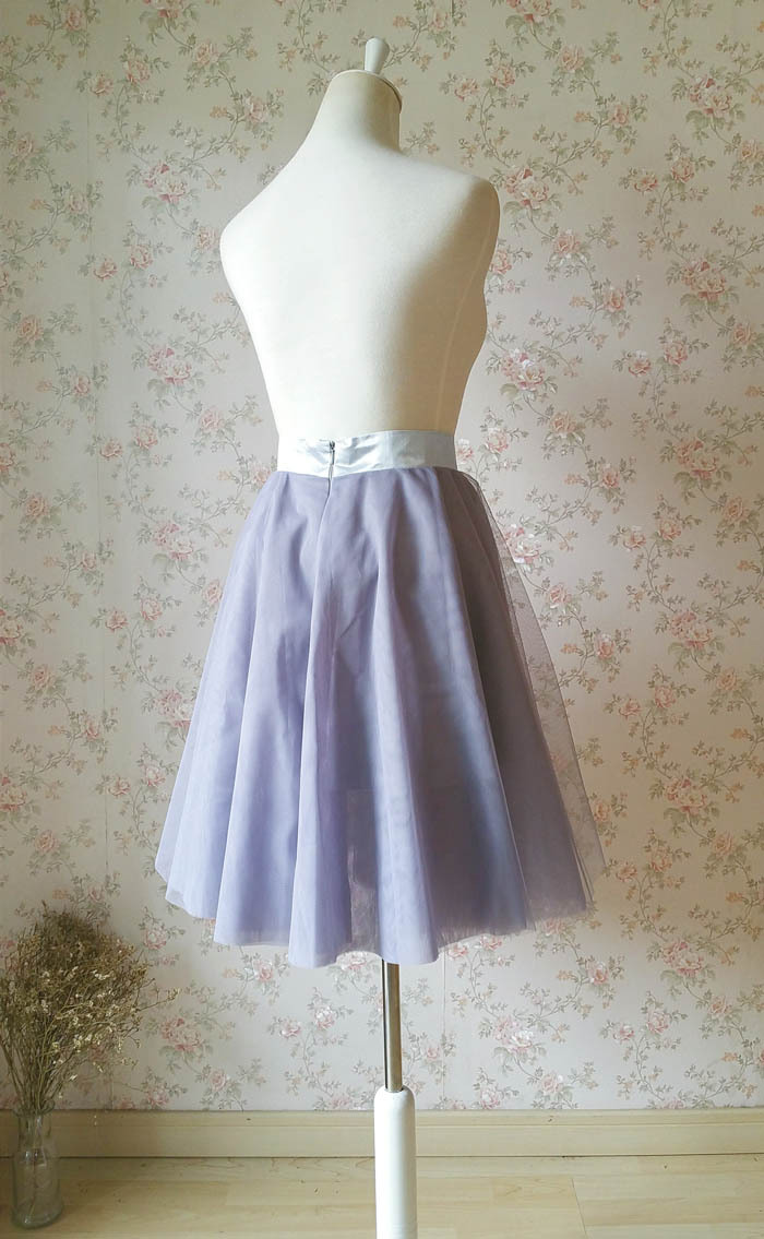 Gray Wedding Knee Length A-line Tulle Skirt Ballerina Skirt Bridesmaid Skirt NWT