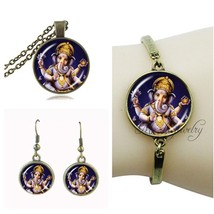 Buddhism ganesha pendant lord ganesha necklace and earring set indian ga... - $15.57