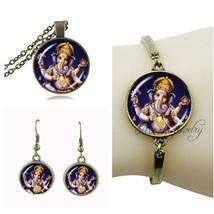 Buddhism ganesha pendant lord ganesha necklace and earring set indian ganesha je - $15.57