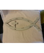Wooden Christian Fish Wall Sign with Cross, White with Brown - $29.70