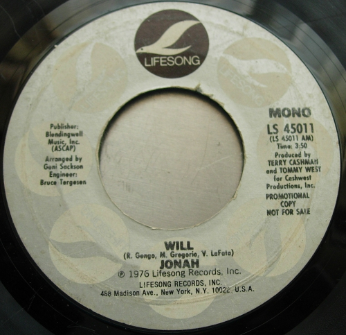 JONAH - Will - Lifesong Records LC45011