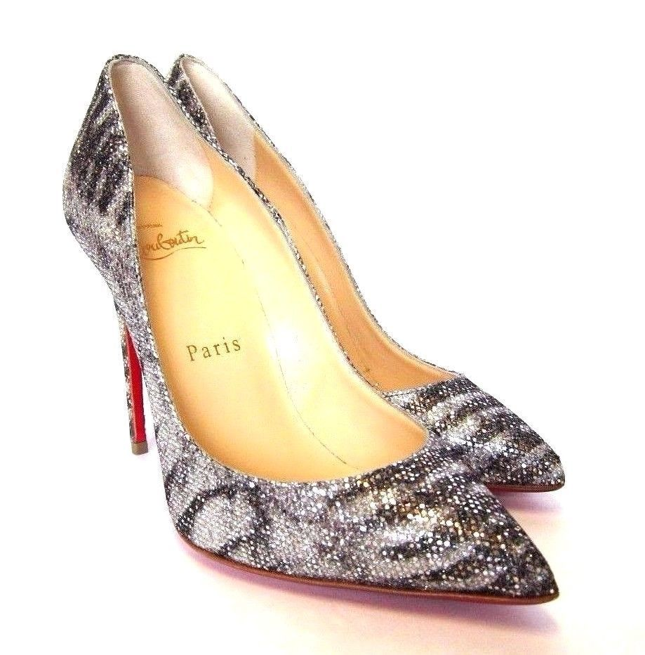 4799be3e621 L-3569400 New Christian Louboutin Pigalle Silver   Black Shoes US-5  Marked-35 -  799.99