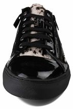Versace Collection Black Pony Hair Patent Leather Lace Zip-Up Fashion Sneaker NW image 5