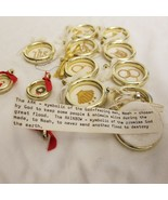 Plastic gold ring fob pendants Christmas Ornament embroidered and messages - $5.94