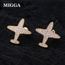 Trendy Cubic Zirconia Paved Aircraft Air Plane Crystal Stud Earrings Gold Color  - $8.16