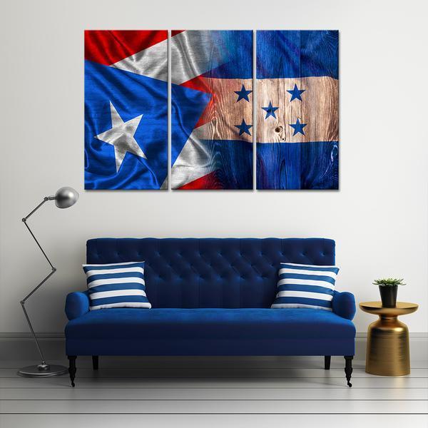 Framed 3 Piece Puerto Rico And Honduras Flag Canvas