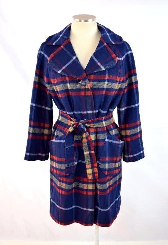 Primary image for Vtg 60s Retro Navy Blue Red Plaid Cashmere & Mink Belted Jacket Trench Coat Sz S