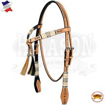 Western Horse Headstall Tack Bridle American Leather Braided Oil Hilason U-1-HS - $63.35