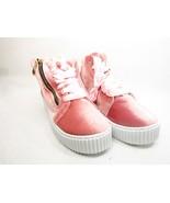 Olivia Miller Bellmore Velvet Side Zip Ribbon Laced Sneaker.Pink Size 7.5 - $33.85