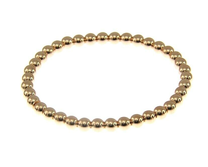 18K ROSE GOLD BRACELET, SEMIRIGID, ELASTIC, 4 MM SMOOTH BALLS SPHERES