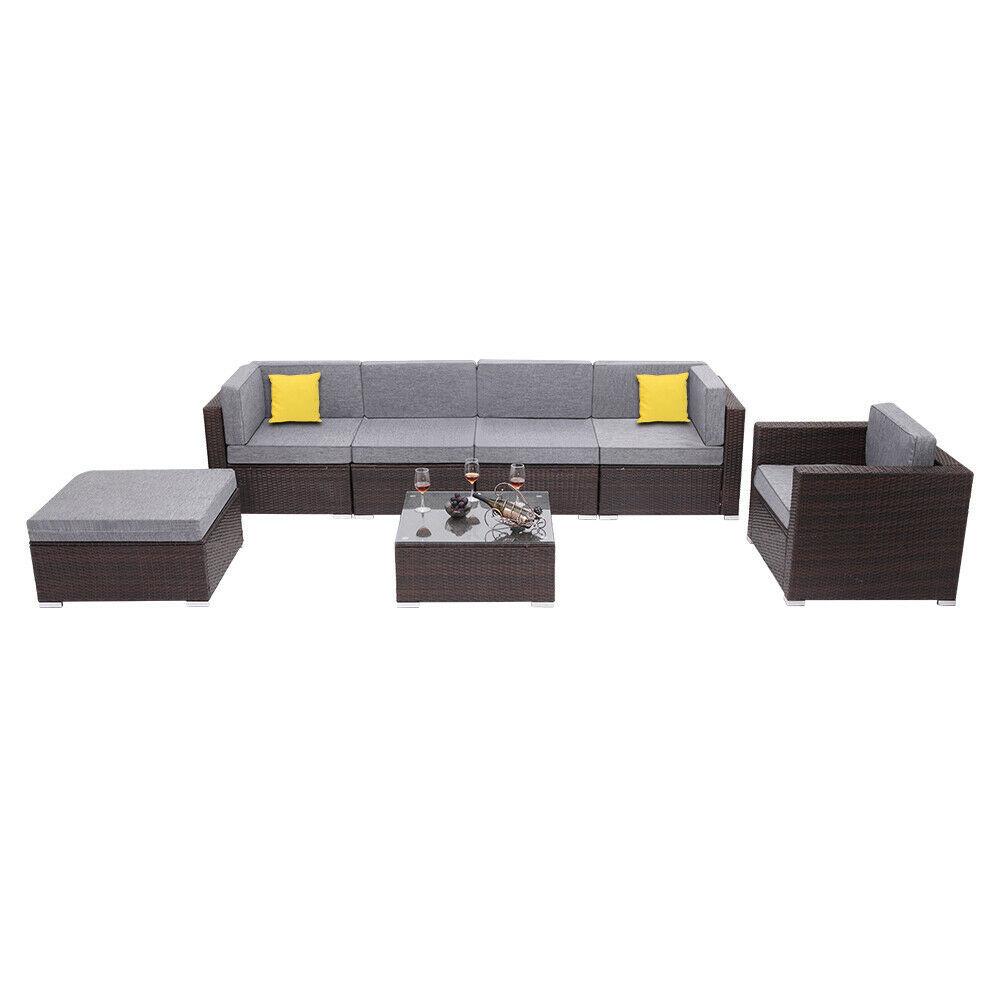 7 Pieces Patio PE Wicker Rattan Corner Sofa Set