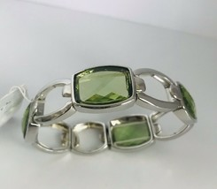 New! Anne Klein Silvertone Green Faceted Glass Stone Stretch Bracelet J0637 - $23.75