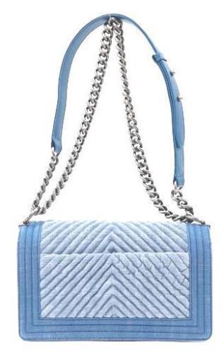 5942f727ff91 Auth CHANEL Shoulder Bag Blue Matelasse Boy Denim Flap Logo Medium Pouch  B2239