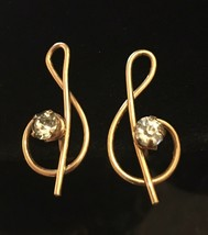 Vintage 12K Gold Filled Music Note Rhinestone Earrings Screwbacks Blue C... - $14.85