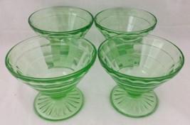 Vtg Green Depression Uranium Glass Stemmed Sherbets Set of 4 Block Optic... - $29.64
