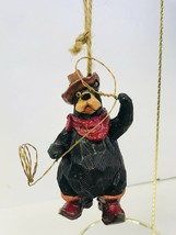 Christmas Ornament Bear Black Cowboy With Lasso Scarf Hat Made Of Resin - $19.79