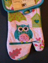 OWL KITCHEN SET 4pc Oven Mitt Potholder Dishcloths Turquoise Pink Bird NEW image 5