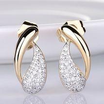 Women's Royal Jewelry Set Austrian Crystal Gold Stud Earrings + Pendant Necklace image 2