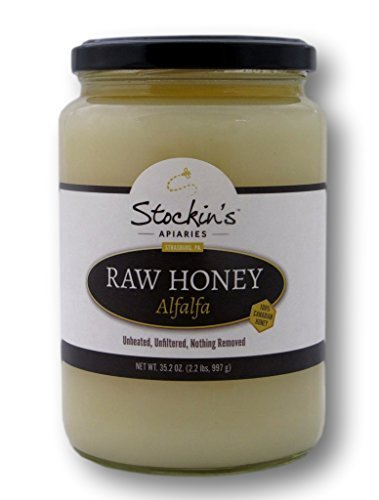 Stockin's Unheated and Unfiltered Raw Alfalfa Honey, 35.2 Oz. Jar (Pack of 2 Jar