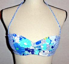 VS Victorias Secret Bikini Top 32B Blue Floral Print Push Up Cinched EUC - $17.99