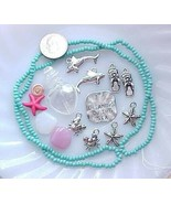 Beach Bead Mix Lampwork Sea Shell Pink Turquoise Starfish Mermaid Jewelr... - $7.00