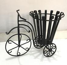 Vintage Black Rickshaw Iron Flower Plant Pot Holder Stand Garden Yard Fi... - $56.12