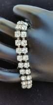 Vintage Tennis Bracelet 6.5 Inch Double Row Clear Prong Set Rhinestone U... - $49.99