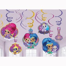 Shimmer and Shine Swirl Hanging Decorations Birthday Party Supplies 12 Piece NEW - $3.91