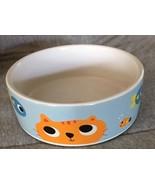 Whisker City Ceramic Cat Food Dish White Light Blue Orange Kitty Color F... - $9.95