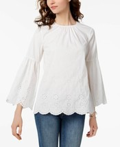 Michael Kors Scalloped Eyelet Bell-Sleeve Top (White, XS) - $48.97