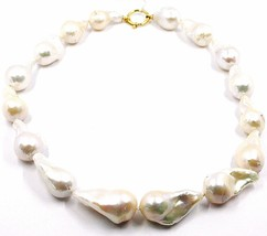 Necklace Yellow Gold 18K, Pearls Drop Large, White, Freshwater, Baroque Style image 1